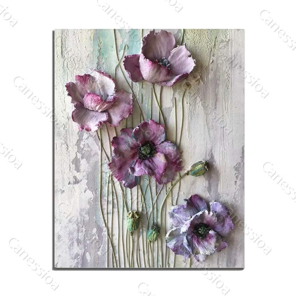Canessioa Wall Art Canvas Painting Abstract Flower Oil Paintings Artwork Charming Petals Modern Fashion Wall Decor for Bedroom Living Room Kitchen Dining Room Corridor(16x20inch Unframed)