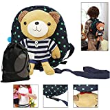 JAVOedge Blue Bear Toddler Safety Harness Back Pack with Removable Stuffed Teddy Bear and Bonus Reusable Storage Bag