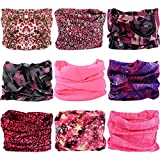 Multifunctional Stretchable Sport & Casual Headwear, Headband Scarf Bandanna Headwrap Mask Neckwarmer & More 12-in-1, 9PC.Pink Series.2
