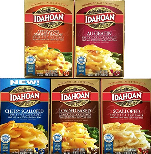 Applewood Smoked Bacon, Au Gratin, Cheesy Scalloped, Loaded Baked, Scalloped - Idahoan Potato Sides - Variety Pack of 5