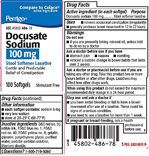 Perrigo Docusate Sodium, Gelcaps, 100mg, 100 Count Per Bo...