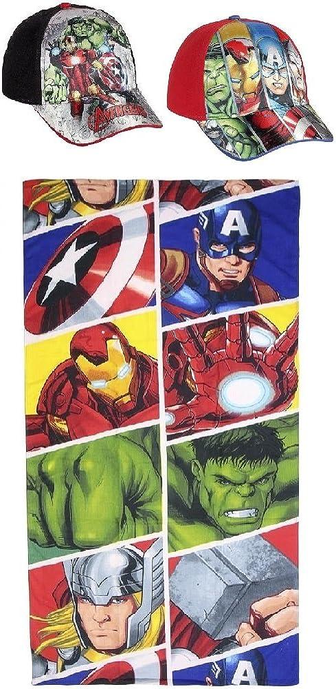 Pack: Toalla (70x140) Más 2 Gorras Ajustables. Diseño Avengers - LOS Vengadores (Marvel): Amazon.es: Ropa y accesorios