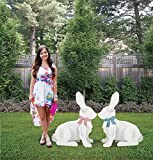 2 SITTING LARGE YARD RABBITS EASTER DISPLAY