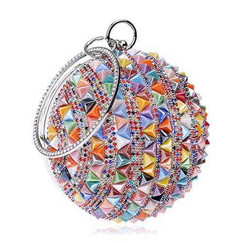 Woman Round Ball Clutch Handbag Rhinestone Ring Handle Purse Evening Bag (Multicolor 2)