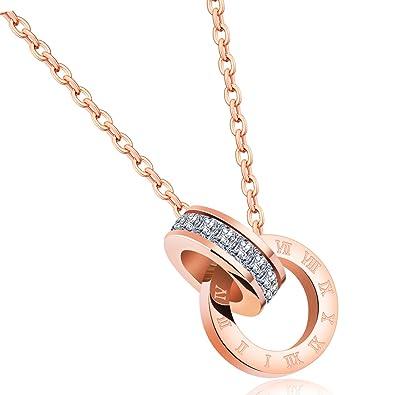 Amazon.com: Showfay - Collar con colgante de oro rosa de 18 ...
