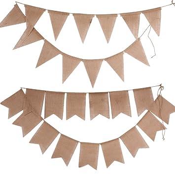 BUONDAC 2pcs Guirnaldas Banderines Banderitas Tela de Lino Decoración Fiesta Cumpleaños Boda Bautizo Jardín Hogar Banderas Triangulares