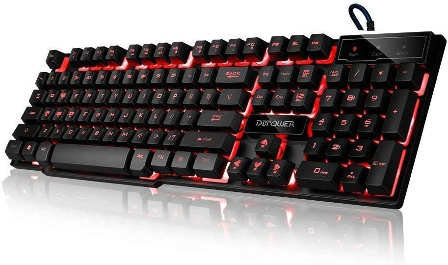 DBPOWER Three Colors Backlit LED Keyboard for Gaming, Office Device