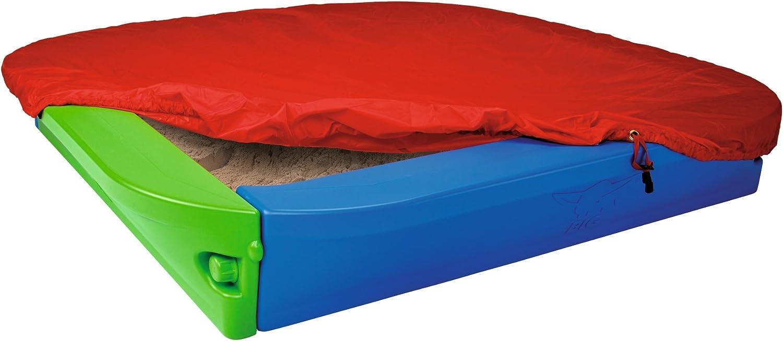 Cajón de arena con cubierta color azul / verde