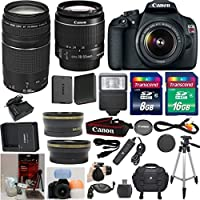 Canon EOS Rebel T5 DSLR CMOS Digital SLR Camera and DIGIC Imaging 33rd Street Bundle with EF-S 18-55mm f/3.5-5.6 IS Lens + Canon 75-300mm III Zoom Lens + Wide Angle Auxiliary Lens + Telephoto Auxiliary Lens + Extra High Capacity Battery + Extra Worldwide Use Charger + Digital Flash + 6pc Commander Starter Kit + 24GB Accessory Kit Explained Review Image