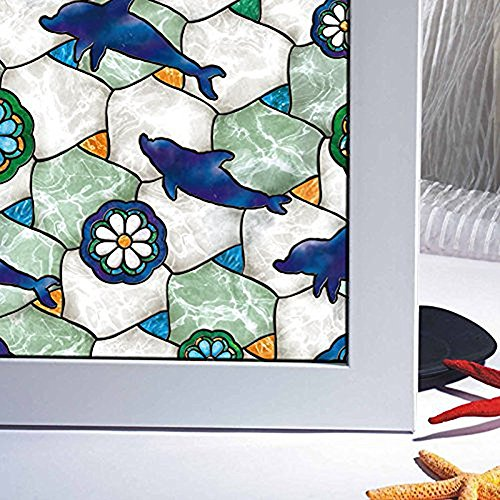 erns Static Privacy Static Cling Non-Adhesive Glass Window Films Cute Modern Decorative Design in Hotel Living Room Office Bedroom Bathroom, 17.7x78.7inch (Dolphin Window)