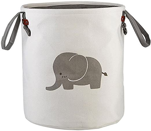 Elefante 40 x 35cm Cesto Ropa Sucia Infantil Plegable,Cubo Almacenaje de Libros//ba/ño//toallitas para Bebe,Organizador Juguetes Tela,Bolsa Colada de Algodon Redondo para Ropa de Lavander/ía Ninos