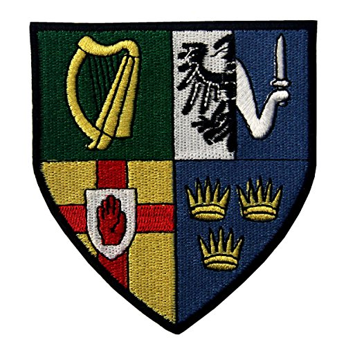 Ireland Provinces Shield Emblem Irish Coat of Arms Flag Embroidered Iron On Sew On Patch (Military Cap Shield)