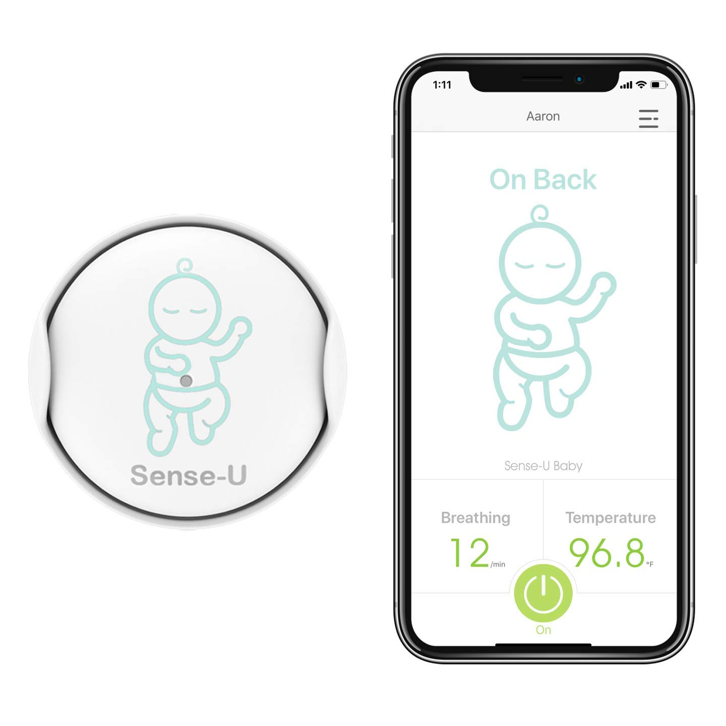 Sense-U Baby Monitor with Breathing Rollover Movement Temperature Sensors Track Your Baby s Breathing, Rollover, Temperature 2019 Updated Version