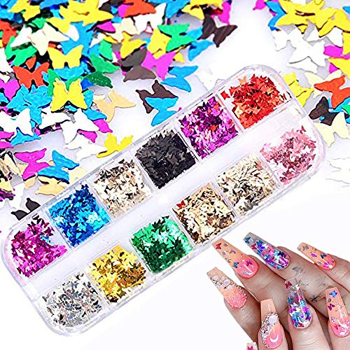 12 Colors Butterfly Glitter Nail Sequins - 3D Nail Art Flakes Colorful Confetti Glitter Sticker Decals Manicure Nail Art Design Makeup DIY Decoration