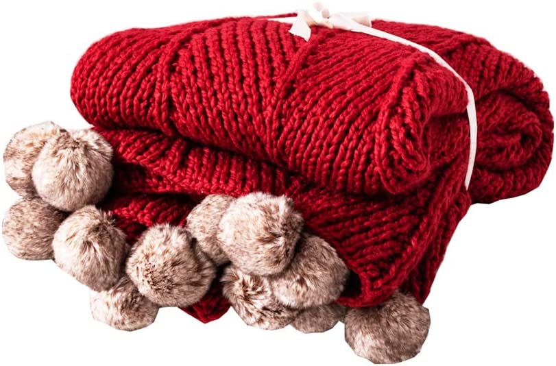 "LakeMono Acrylic Iceland Wool Knitted Throw Blanket, Super Soft Couch/Sofa/Bed Cover Quilt with Handmade Pompoms (Deep Red, 51.18"" x 59.05"")"