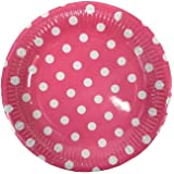 "20pcs Polka Dots Paper Tableware 7"" Plates Birthday Party Wedding Events Cake Plate 7"" (7"" Pink Polka Dots Plates)"