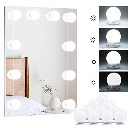 low priced efcf7 2de1d Brightown Hollywood Style LED Vanity Mirror Lights Kit with Smart Dimmer,  10 Light Bulbs Lighting Fixture Strip for Makeup Vanity Table Set in ...