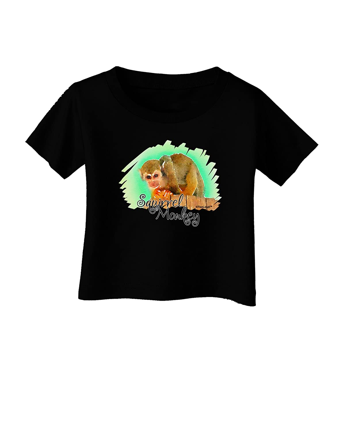 TooLoud Squirrel Monkey Watercolor Text Infant T-Shirt Dark