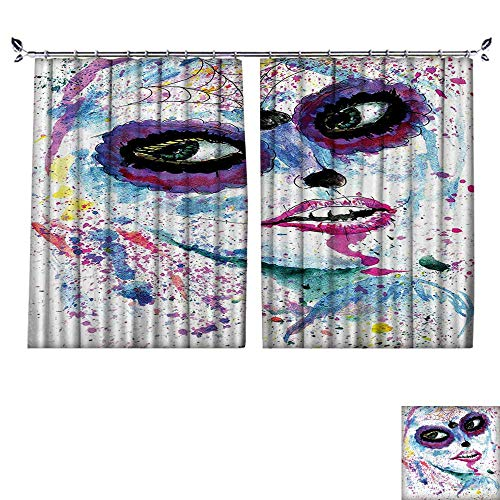 PRUNUS Sun Blocking Curtains with Hook Halloween Lady with Sugar Skull Make Up Creepy Dead Face Gothic Woman Provides Utmost Privacy,W55 -