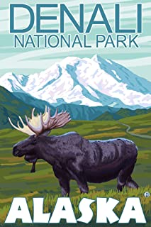 product image for Denali National Park, Alaska - Moose Scene (36x54 Giclee Gallery Print, Wall Decor Travel Poster)