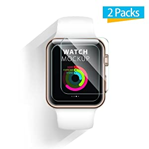 42mm Apple Watch Screen Protector - iXCC 0.3mm [2 Pack] Tempered Glass Screen Protector, Anti-bubbles, Scratch Resistant [Only Covers the Flat Area]