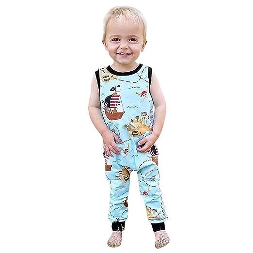 0a57dbf341fa Amazon.com  Toddler Baby Boy Girl Cartoon Pirate Ship Print Back Zipper  Cotton Jumpsuit Romper in Sky Blue  Home Improvement