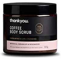 Thankyou Coffee Body Scrub Botanical Geranium & Rosewood - Exfoliating, 300g