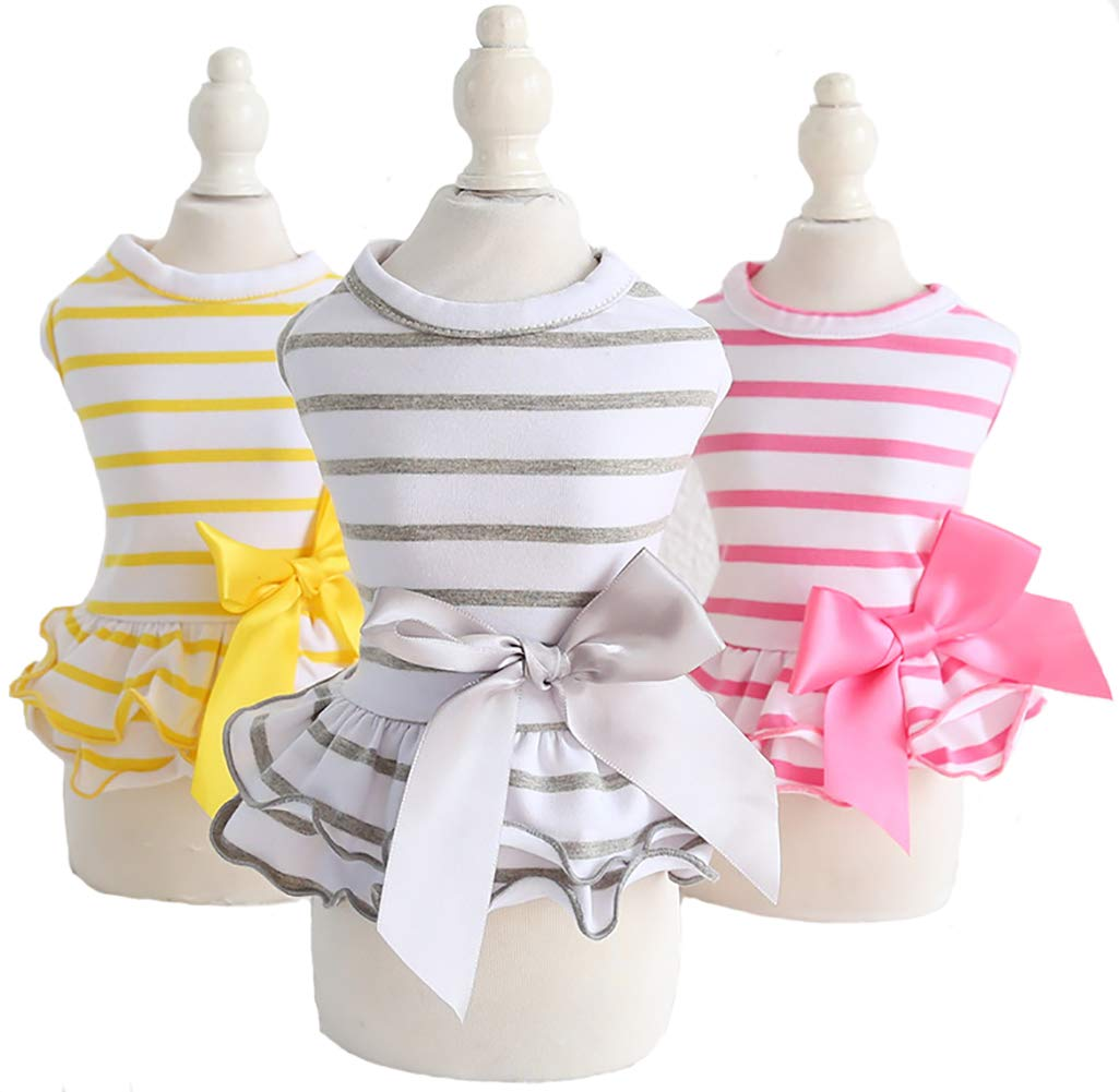 MaruPet Summer Sweet Puppy Doggie Stripes Printed Navy Wind Skirt Pet Dog Dress with Bowknot for Small, Extra Small Dog Teddy, Pug, Chihuahua, Shih Tzu, Yorkshire Terriers Yellow+Gray+Pink XS