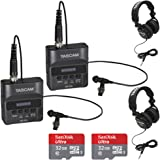 Tascam DR-10L Portable Digital Studio Recorder w/Lavaliere Microphone, TH-02-B Headphones and Sandisk 32GB Audio Bundle (2 Pack)