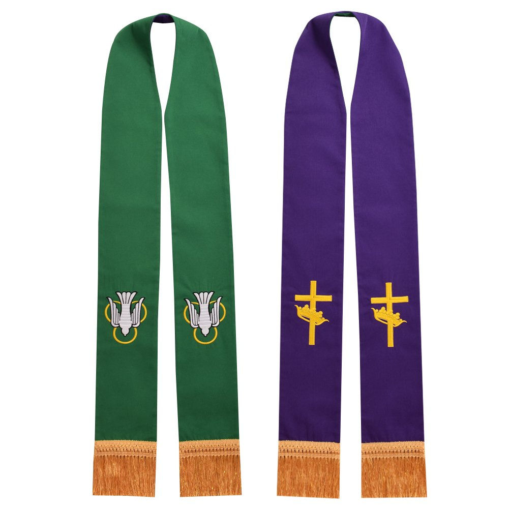 BLESSUME Church Pastor Reversible Stole with Tassels (Green and Purple)