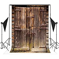 5x7ft Dark Gray Wood Door Photography Backdrops Wrinkle free Retro Photo Background for Chlidren