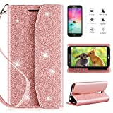 LG K20 V K20V Wallet Case, LG K20 Plus/LG K20/LG Harmony/LG K10 2017 Phone Wallet Case with HD Screen Protector,CaseRoo [Kickstand] [Wrist Strap] 2 in 1 Glitter Cover for with Cosmetic Mirror-Rosegold For Sale