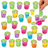 Mini Putty and Slime Glitter Assortment Clear Container, Assorted Colors, 48 Pack, Bulk, Great Children Party Favor, Kids Party Supplies, Great Novelty Toy, By 4E's Novelty,