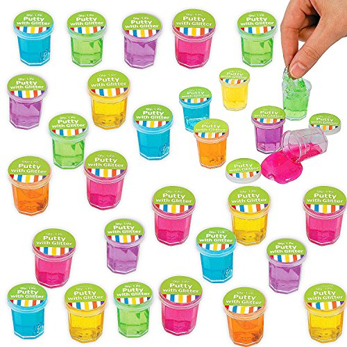 Mini Putty and Slime Glitter Assortment Clear Container, Assorted Colors, 48 Pack, Bulk, Great Children Party Favor, Kids Party Supplies, Great Novelty Toy, By 4E's Novelty, by 4E's Novelty