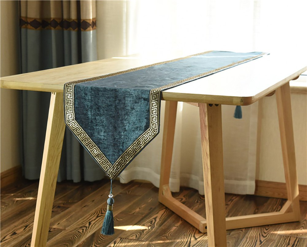 Neoklassische Quasten Tischläufer Bestnote Placemate Esstisch Kissen ( Farbe : Grün , größe : 30240cm )