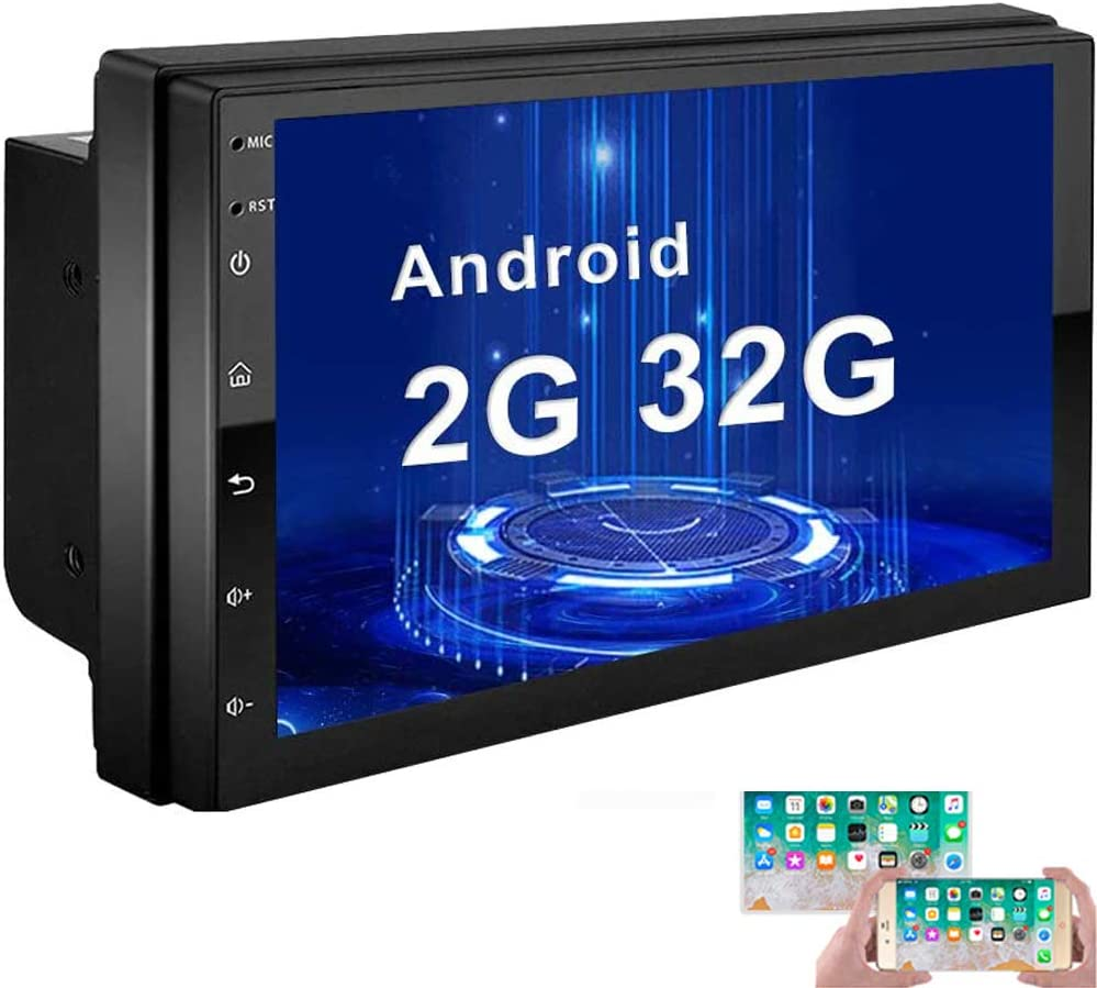 12 LEDs Backup Camera Camecho Android Double Din Car Stereo with 7 HD Touch Screen Head Unit GPS FM Bluetooth USB Radio Support iOS//Android Phones Mirror Link 1G