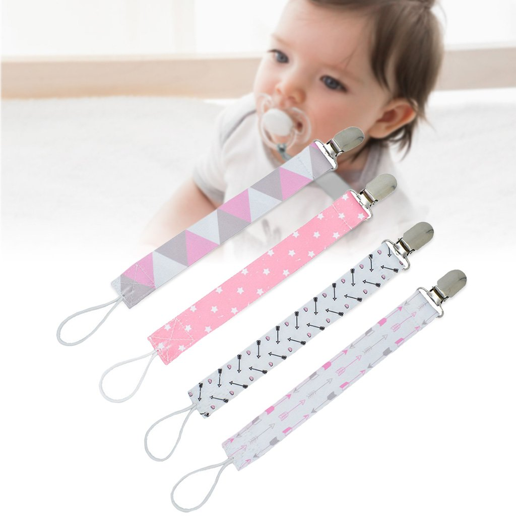 Autone 4Pcs Baby Pacifier Dummy Clip, Nipple Holder, Kids Pacifier Clips Soother Holder