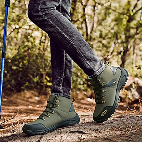 メンズ防水高層ハイキングブーツノンスリップトレッキングシューズアウトドアトレッキングクライミング実行するためのレースアップアウトドアシューズ (Color : Army green, Size : 8.5UK)