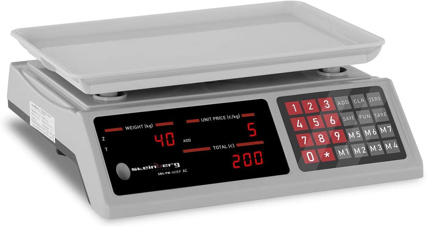 Steinberg Balanza De Control Báscula SBS-PW-402EP (Pesaje hasta 40 kg, Precisión De 2 g, 7 Memorias, 33,7 x 23,1 x 0,6 cm)