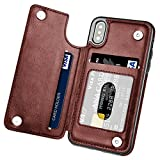 iPhone X Case, iPhone 10 Case, Hoofur Slim Fit Premium Leather iPhone X Wallet Case Card Slots Shockproof Folio Flip Protective Defender Shell for Apple iPhone X/10 (2017) (Brown)