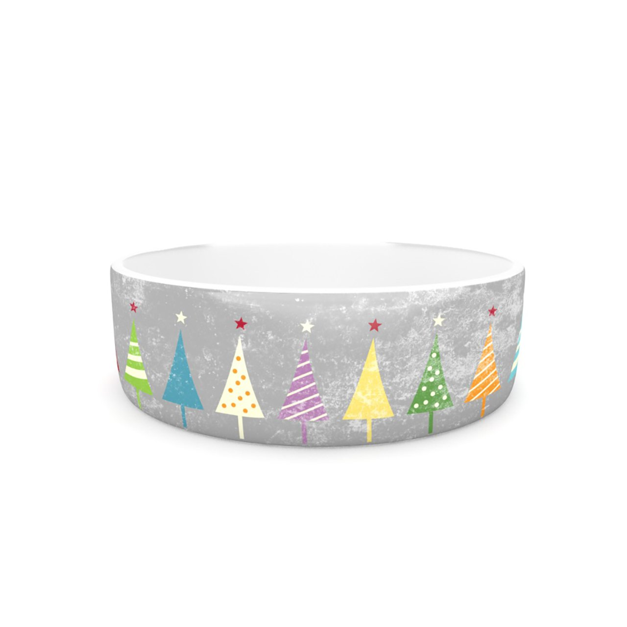 Kess InHouse Snap Studio Crazy Trees Frost  Pet Bowl, 7-Inch, Rainbow