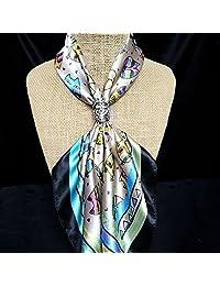 Generic Women Elegant Hollow Rose Flower Scarf Clip Fashionable Scarf Ring Chiffon Buckle
