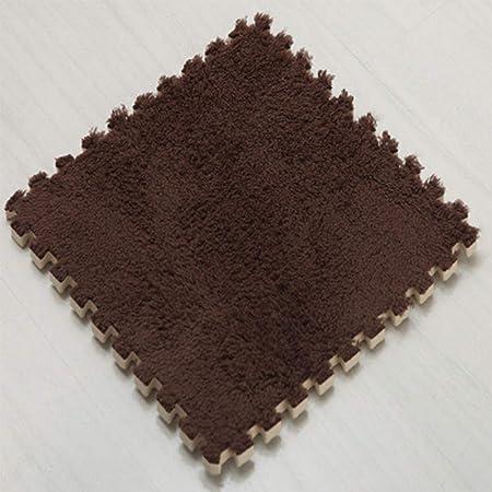 Leoie Puzzle Exercise Mat, Splice Floor Mat Door Floor Carpet Foam Pad Square Crawling Area Mat for Living Room Bedroom Brown 30 * 30 * 1cm