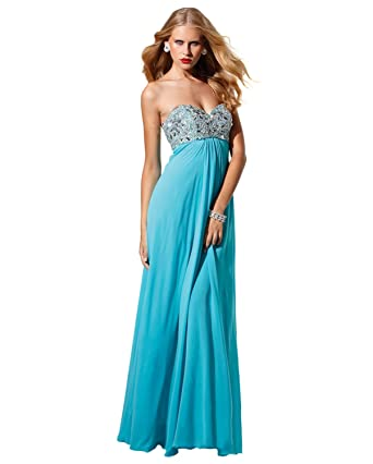 Amazon.com: Terani Strapless Flowy Dress 1528: Clothing