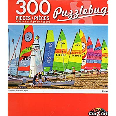 Colourful Catamarans, Spain - Puzzlebug - 300 Piece Jigsaw Puzzle: Toys & Games