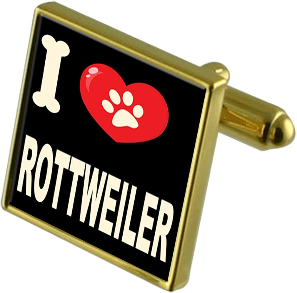 Select Gifts I Love My Dog Gold-Tone Cufflinks Rottweiler