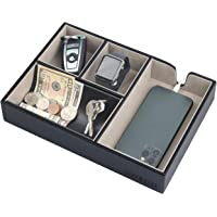 JackCubeDesign Valet Tray Multi Leather Desk or Dresser Organizer Catch-all for Keys Phone Wallet Coin Jewelry and Nightstand(Black 10.6 x 7.2 x 1.9 inches) - :MK233A