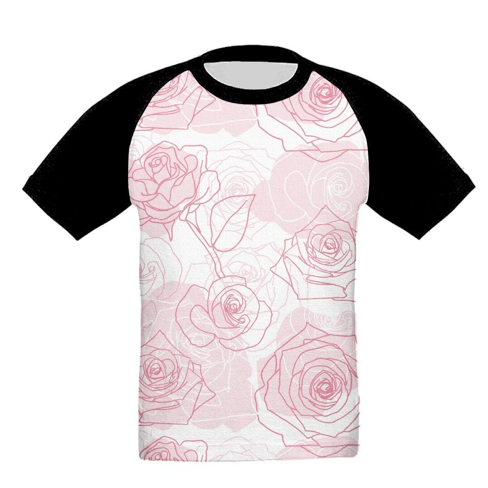 chibaokun Hand Drawn Roses Pattern Unisex-Child T Shirt Baby Toddler Tee Round-Neck Short Sleeve Shirt