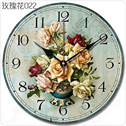 Buggy Round Decorative Wall Clock-Shabby Chic Floral Patchwork Clock - Vintage Wall Clocks for Living Room, Bedroom and Kitchen - Multi-Coloured Cute Retro Style Clock Wall ,12 inches 30CM