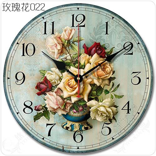Buggy Round Decorative Wall Clock-Shabby Chic Floral Patchwork Clock – Vintage Wall Clocks for Living Room, Bedroom and Kitchen – Multi-Coloured Cute Retro Style Clock Wall ,14 inches 35CM